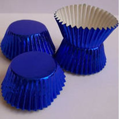 "Mini Blue Foil Cup 1 1/4"" Base x 3/4"" Wall approx 100"