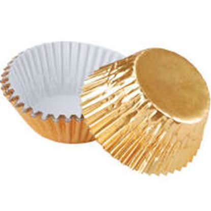 "Gold Mini Foil Cups 1 3/8"" Base approx 100"