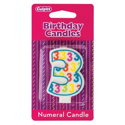 "#3 Pattern Numerals Candle 3"" Each"