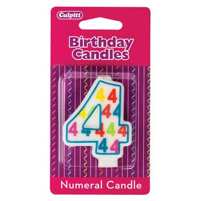 "#4 Pattern Numerals Candle 3"" Each"