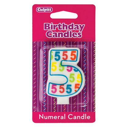 """#5 Pattern Numerals Candle 3"""" Each"""