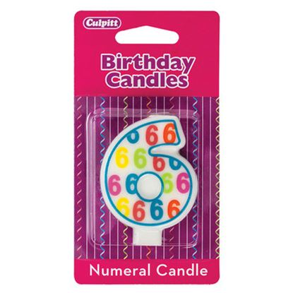 """#6 Pattern Numerals Candle 3"""" Each"""