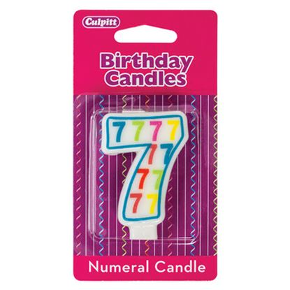 """#7 Pattern Numerals Candle 3"""" Each"""