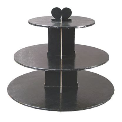Single Use Round 3 Tier Stand Black Each