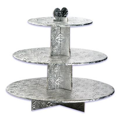 Single Use Round 3 Tier Stand Silver Each