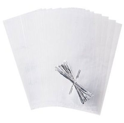 "Party Bags Clear with Ties 4"" x 9"" 50 count"