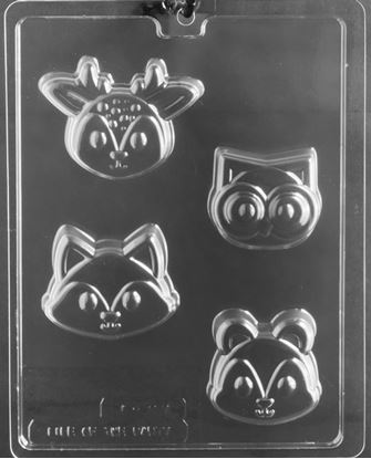 Woodland Animal Faces Cookie Mold 4 Cavity