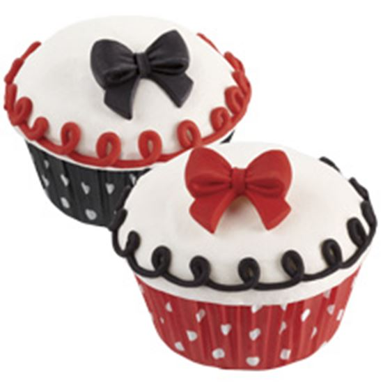 Bows Royal Icing Black, Red & Dots 12 count