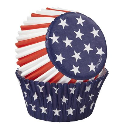 * Red White & Blue Star Baking Cups