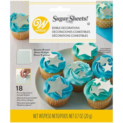 Silver & White stars Precut Sugar Sheet 18 count