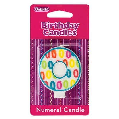 "#0 Pattern Numerals Candle 3"" Each"