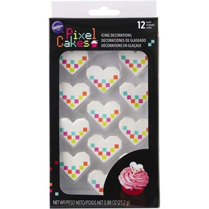 * Pixel Heart Royal Icing Decorations 12 count