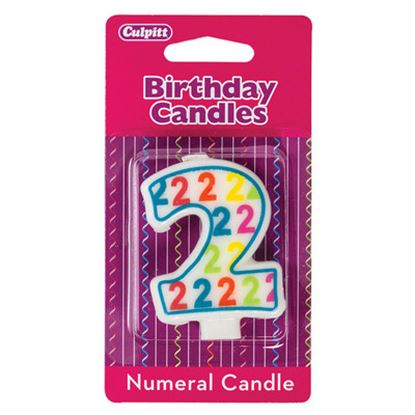 "#2 Pattern Numerals Candle 3"" Each"