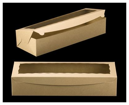 """20"""" x 7"""" x 4"""" Brown/Brown with Window, One Piece Lock & Tab Box With Lid Each"""