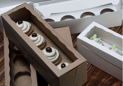 """13"""" x 4"""" x 4"""" Brown/Brown with Window, One Piece Lock & Tab Box With Lid Each"""