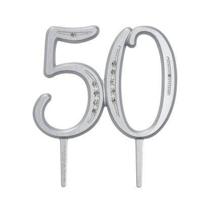 "* Diamond Monogram Milestone ""50"" 3 1/2"" Each"