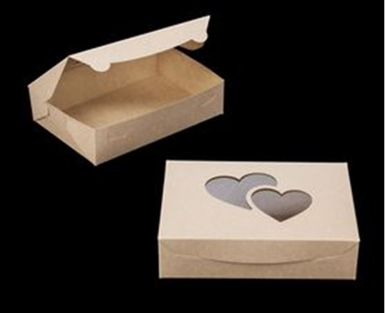 "10"" x 7"" X 2 1/2"" Brown/Brown Lock & Tab Box with Heart Window Each"