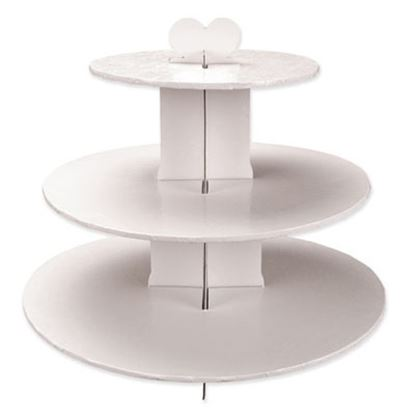 Single Use Round 3 Tier Stand White Each