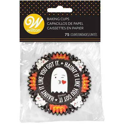 """* Emoji Ghost Baking Cups 2"""" Base 75 count"""