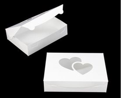 "10"" x 7"" X 2 1/2"" White/White Lock & Tabe Box with Heart Window Each"