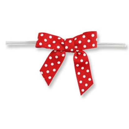 Medium Red Bow with White Dots on Clear Twistie 12 count