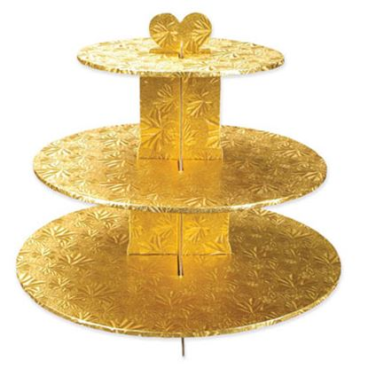 Single Use Round 3 Tier Stand Gold Each