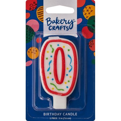 """#0 Party Red Number Candle 3"""" Each"""
